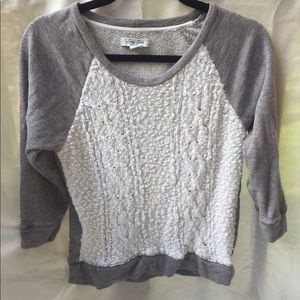 Lucky Lotus gray and white sweater - size small